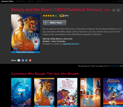 Beauty and the Beast Theatrical is second version in my Amazon linked to DMA account, but they have same runtime.